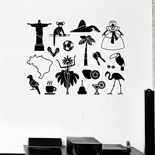 Tianpengyuanshuai Muurstickers Brazilië Latijns-Amerika attracties reizen vinyl deuren en ramen stickers koelkast stickers slaapkamer huisdecoratie