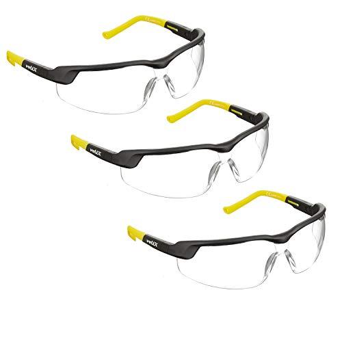 3 x voltX 'GT Adjustable' (2020 Model) Gafas de Seguridad Ajustables, (Transparente) Certificado CE EN166FT, Revestimiento antiempañamiento, Lentes UV 400 ✅