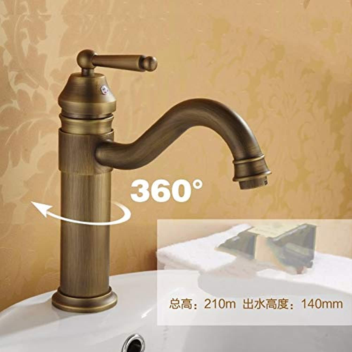 JWLT Faucet European All Copper Basin, Podium with high tap, Single Hole Retro washbasin, General Cold and hot Faucet can be redated,Short, high 230mm