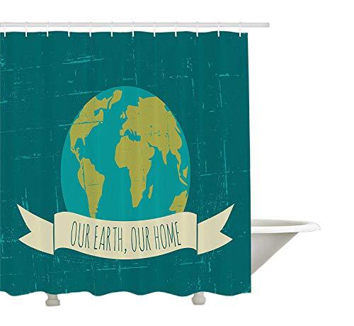Yeuss Zitat Duschvorhang, Nachhaltiger Lebensstil Umweltfre&licher Slogan Unsere Erde Unser Zuhause, Stoff Badezimmer Dekor Set mit Haken, Petrol/Gelbgrün & Creme