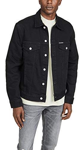 Calvin Klein Jeans Men's Foundation Trucker Embro Jacket, Onyx Black, Small
