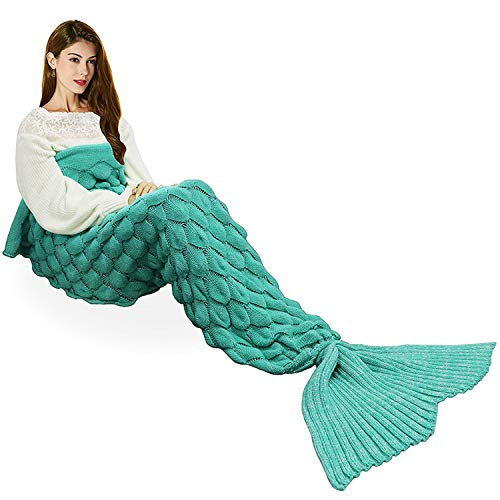 Handmade Mermaid Tail Blanket Crochet , T-tviva All Seasons Warm Knitted Bed Blanket Sofa Quilt...