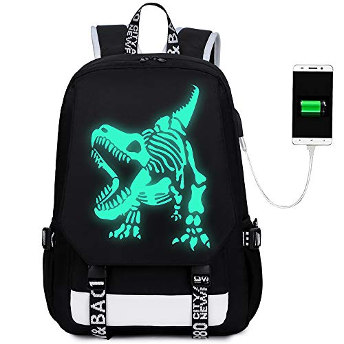 Boys Backpacks Dinosaur Luminous School Backpack with USB Charging Port fit 15.6 inch laptop for College Mens Noctilucent Daypack