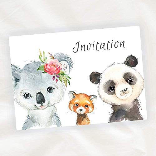 Lot de 8 cartes d'Invitation Anniversaire Enfant - Mixte Fille ou Garçon - Koala et Panda