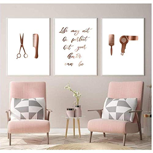 HHLSS Imagen de póster 3x20x30cm sin Marco Decoración de salón de Pelo Carteles e Impresiones Peluquería Regalo Arte de la Pared Pintura en Lienzo Imágenes Decoración