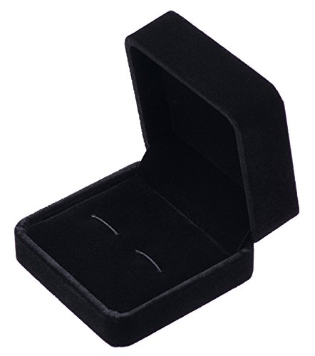 Kleine dunkle Klassische samt Manschettenknopf Box Case (Schwarz)