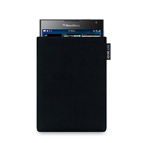 Adore June Classic Schwarz Tasche für BlackBerry Passport Handytasche aus widerstandsfähigem Cordura Stoff | Robustes Zubehör mit Display Reinigungs-Effekt | Made in Europe