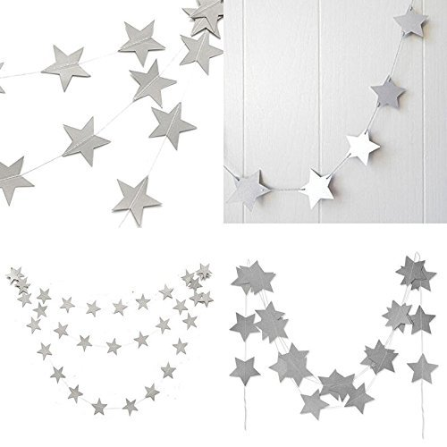 jijAcraft Star Bunting,16 M Glitter Paper Banner, Hanging Wall Decoration Bunting for Wedding Birthday Party Baby Shower Christmas Decoration Banner(Silver)