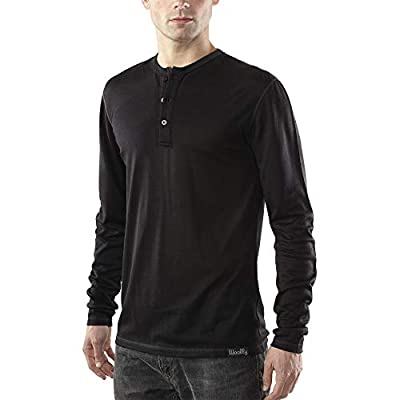Woolly Clothing Men's Merino Wool Long Sleeve Henley - Everyday Weight - Wicking Breathable Anti-Odor M BLK