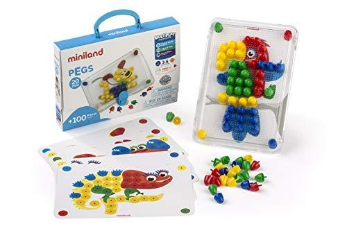 Miniland- Pegs 20 mm (100 Piezas) - Primary Colors Divertido Juego de mosaicos. (31806)