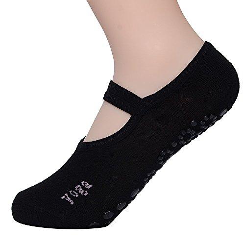 FunRun Non Slip Skid Women Pilates Yoga Socks Dance Mat Massage Socks with Grips Best Fitness Dance, Pilates, Ballet Barre,Sports For Woman Size Shoe Size UK 2.5-7 /EU 35-40,Black