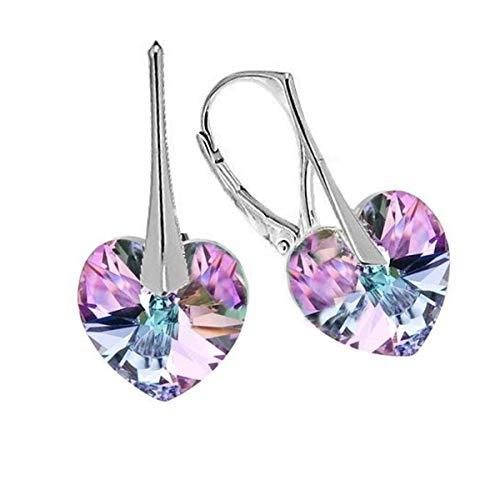 Orecchini a monachella a forma di cuore, decorati con cristalli scintillanti, in argento Sterling 925 e Argento, colore: Azzurro/Lilla chiaro, cod. SW180913