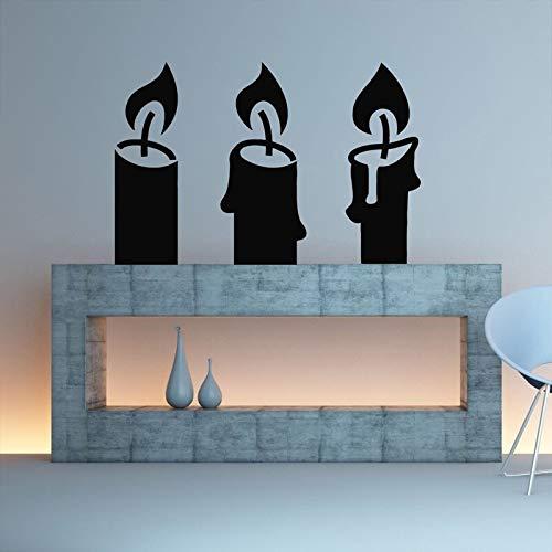 Open haard woonkamer kaars kandelaar verwijderbare muursticker kunst decoratie vinyl muur sticker kunst muurschildering 64x42cm
