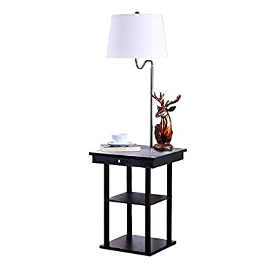 Brightech Madison LED Floor Lamp Swing Arm Lamp w/Shade & Built In End Table & Shelf, Includes 2 USB Ports & 1 US Electric Outlet – Bedside Table Lamp for Bedroom & Side Table Lamp for Living Room