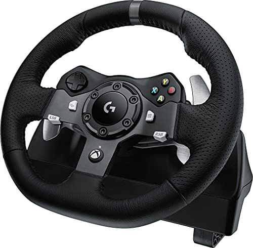 Logitech G920 Driving Force Gaming Rennlenkrad, Zweimotorig Force Feedback, 900° Lenkbereich, Leder-Lenkrad, Verstellbare Edelstahl Bodenpedale, Xbox One/PC/Mac - UK-Stecker,...