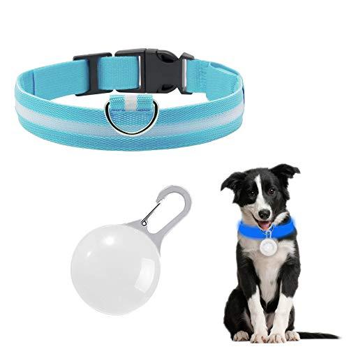 LxwSin Collar de Perro LED, Collar LED Luz Perro, USB Recargable Collar Perro Luz Seguro 3 Modos,...