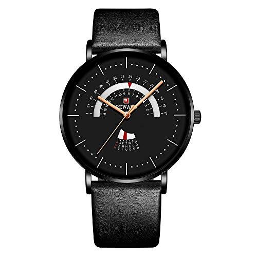 RD63102M Movimiento de cuarzo Reloj para hombre Reloj de pulsera simple de negocios de lujo 3ATM Reloj de pulsera ultrafino resistente al agua con calendario semanal para hombres con correa de cuero