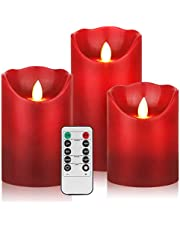 YIWER Battery Lights,4cm 5 inch 6 inch set of 3 real wax no plastic pillar includes realistic dancing LED flames and 10-button remote control with 2/4/6/8 hour timer function 200 hours(3*1.Red)