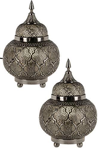 2er Set Orientalische Messing Tischlampe Lampe Huriye 28cm Silber | Marokkanische Tischlampen klein Lampenschirm silberfarben | kleine Nachttischlampe modern Vintage Retro & Landhaus Stil Design
