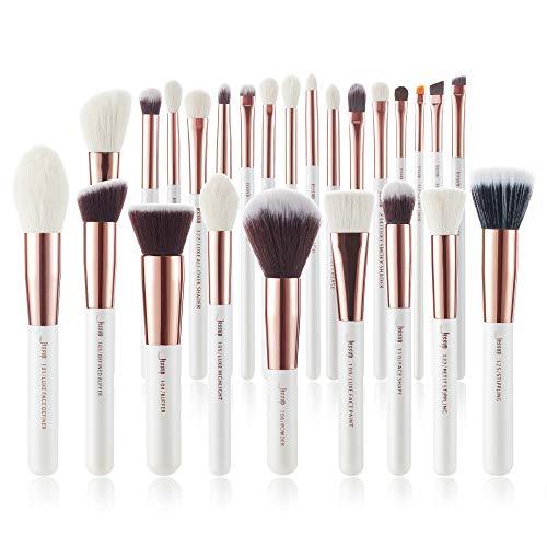 Jessup Make Up Pinsel Set 25 Stück Schmink Kosmetik Bürsten Professionelle Brushes Augen Gesicht Lidschatten Puder Synthetische Natürliche Haare Weiß T215