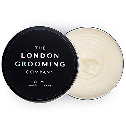 The London Grooming Company's Creme for Men - Medium Hold and Low Sheen Natural Finish - 3.4oz Water Based Men's Hair Product, Easy to Wash Out - Oud Wood Scent