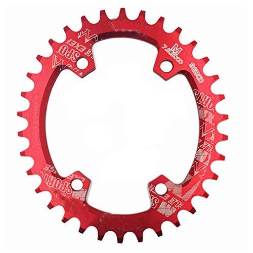 WLKK Bicicleta de Carretera MTB Ultraligera CNC 96BCD Placa de Diente de Plato de Plato Ancho Estrecho para M7000 M8000 M9000(34T-Round,Red)