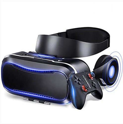 YDZSBYJ VR-Brille, 4D Kopf Montiert 3D HD Virtual Reality Helm, RV Stereo Spiel/Film, Oppo/Huawei/Vivo/Apfel, Atmungsaktiv, Schwarz (Farbe : Black)