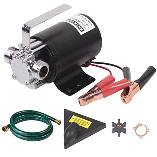 EXTRAUP DC 12Volt 330 GPH Portable Low Suction Electric Water Transfer Removal Utility Pump With Suction Hose Kit