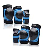 Protective Gear forYoutht Knee Pads Elbow Pads Wrist Guards for Skateboarding Roller Skating Cycling Bike BMX Bicycle Scootering 3Pairs (Blue, Large)