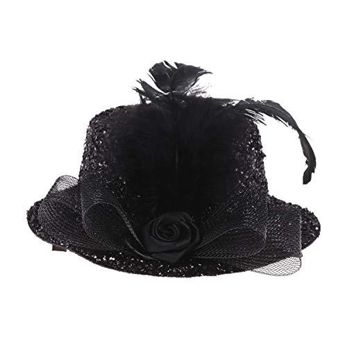 Amosfun Sombrero de Plumas Fascinator Glitter Feather Top Hat Etapa Performance Head...