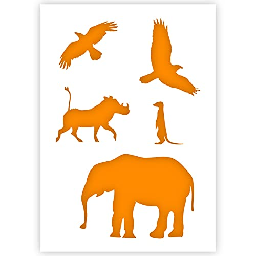 Qbix African Animals Stencil - A5 Size - Reusable Kids Friendly DIY Stencil for Painting, Baking, Crafts, Wall, Furniture