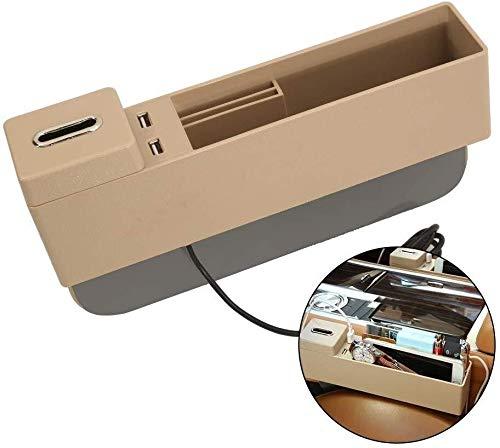 Mmhot-cd Gap Car Seat Organisateur avec Ports USB et Amovible Coin Support Universel réversible Siège de Stockage Gap Filler for Les Deux sièges conducteur et Passager Siège (Couleur : Beige)