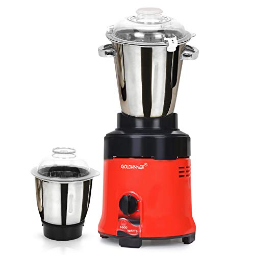 Goldwinner Commercial Mixer Grinder, 1600-watts, Commercial Heavy Duty and Hi-Tech 100% Copper Motor with 2 Stainless Steel Jars, Black Red|Restaurants|Catering|Hotels|Food Industry|Heavy Home Usage