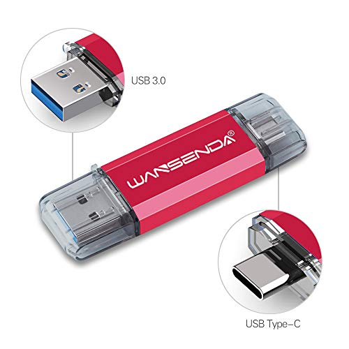 Pen Drive USB 64GB Penna USB 2 IN 1 USB 3.0 Type C Chiavetta USB 64GB Pennetta USB OTG USB Flash Drive For Type C Android Smart Phone Devices Tablets PC Mac (64G,Rosso)