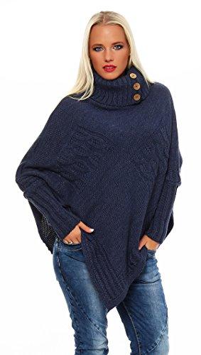 Mississhop Poncho Strick Sweatshirt Pullover Umhang Überwurf Einheitsgröße 36 38 40 S M L 11 Farben, Nachtblau, S/M/L 36/38/40