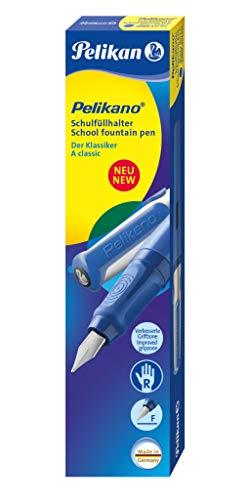 Pelikan 802925 Penna Stilografica a Cartuccia, Fusto Blu, Pennino F, Grip Antiscivolo, Impugnatura Ergonomica, per Destri, Set Scuola, Sistema Antimacchia