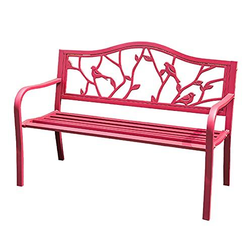 GETZ Banco Jardin Exterior, Muebles de Exterior, Muebles de Patio, Silla de Metal con Respaldo Y Reposabrazos para Patio, CéSped, Porche, Patio (Color : A-Red)