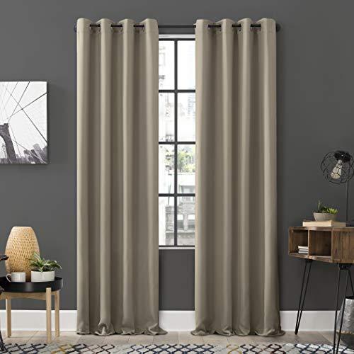 "Sun Zero Soho 2-Pack Energy Efficient Blackout Grommet Curtain Panel Pair, 54"" x 84"", Stone"