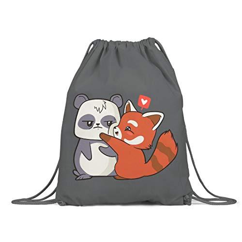 BLAK TEE Cartoon Panda Love Organic Cotton Drawstring Gym Bag Grey