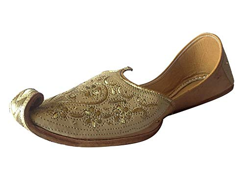 Step n Style Mens Punjabi Jutti Sherwani Shoes Cream Cut Work Zari Khussa Shoes Beaded Footwear Bridal Slip on (9)