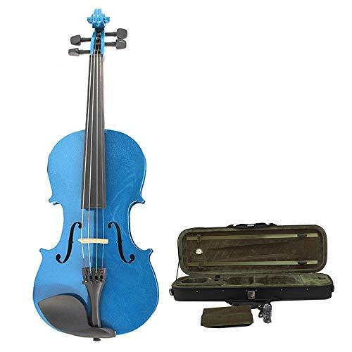 Sunxwen-WT Violini Blu Lucido Finitura Artigianale Violino Acustico Studenti Principianti Taglie Multiple Kit Violino in Legno massello Naturale con Custodia Rigida 4/4, 3/4,1/2,1/4,1/8,1/16