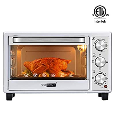VIVOHOME 6-Slice Countertop Toaster Oven with Bake Pan, Broil Toasting Rack and Drag Hook, Oven Mitten Included, Stainless Steel, Silver
