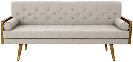 Best Christopher Knight Home Aidan Mid Century Modern Tufted Fabric Sofa, Beige
