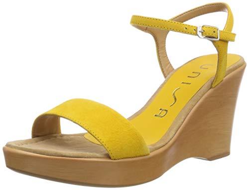Unisa Rita_19_KS, Sandali con Cinturino alla Caviglia Donna, Giallo (Yellow Yellow), 39 EU