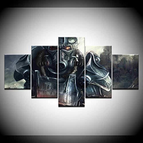 VENDISART,Impresiones sobre Lienzo,Modular Decoración De Pared Póster,5 Piezas Cuadro,Películas Edad Media Armadura Guerrera,con Marco,Talla:200 * 100cm