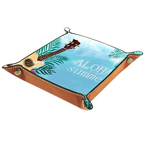 Eslifey Bandeja organizadora de almacenamiento Aloha para guitarras de acuarela, bandeja para llaves, mesita de noche, bolsa de piel de microfibra, 16 x 16 cm