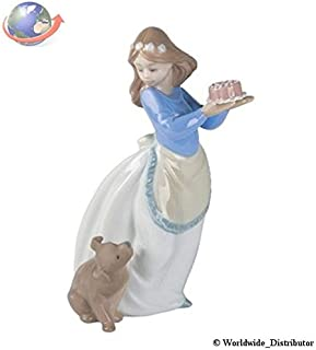 Nao Porcelain by Lladro PUPPY'S BIRTHDAY ( GIRL HOLDING CAKE WITH PUPPY DOG ) 2001045