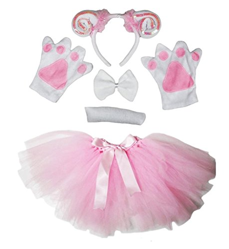 Petitebelle Diadema Bowtie Guantes de cola Tutu niña Disfraz de 5 piezas Un tamaño Cabra Oveja Rosa Blanco