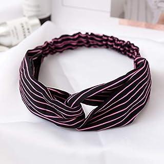 YJXUSHYQ Fashion Smooth Fabric Striped Twist Hair Scrunchie Head Wrap Stretch Stripes Headwear Women Hair Accessorie (Colo...