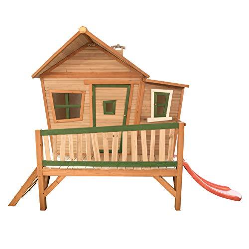 AXI Emma Maison Enfant avec Toboggan rouge | Aire de Jeux pour l'extérieur en marron & vert | Maisonnette / Cabane de Jeu en Bois FSC